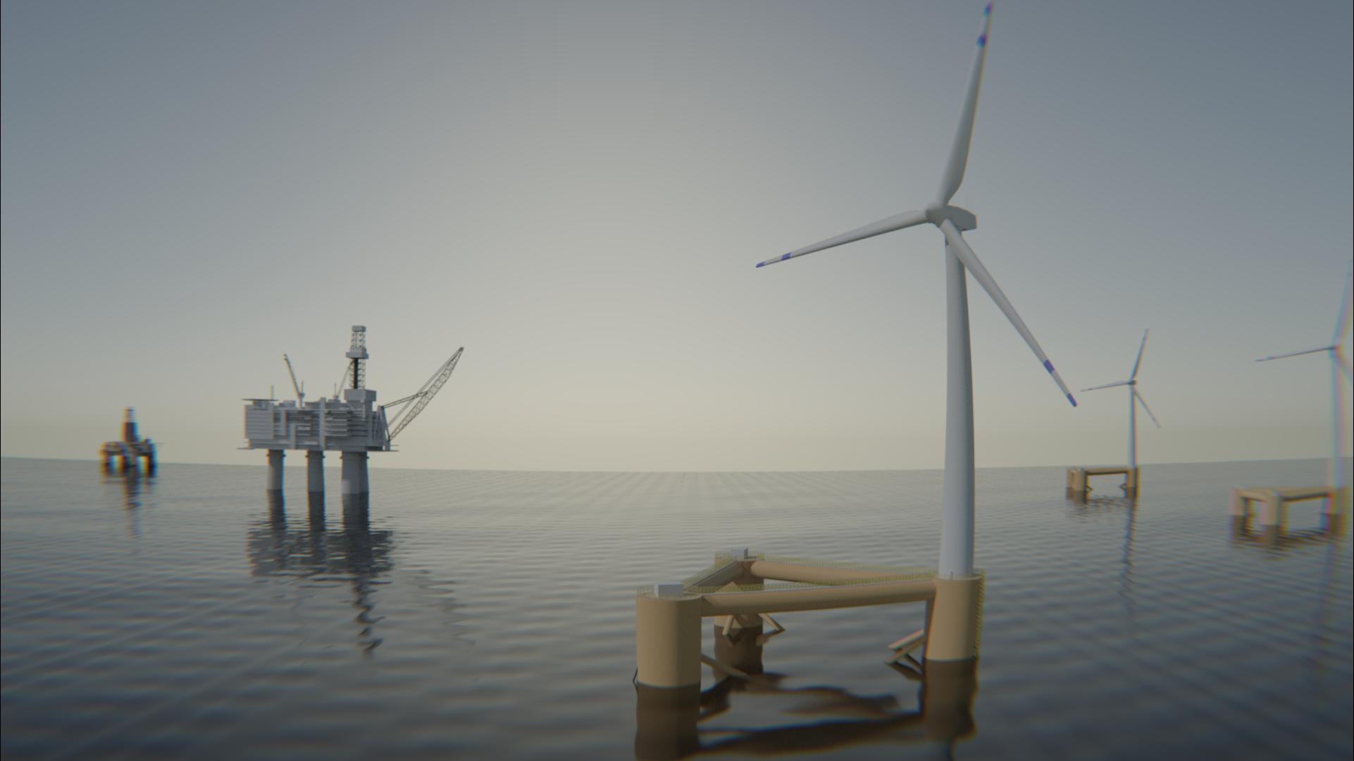 Odfjell Oceanwind's WindGrid offshore supplying wind power  power to platform