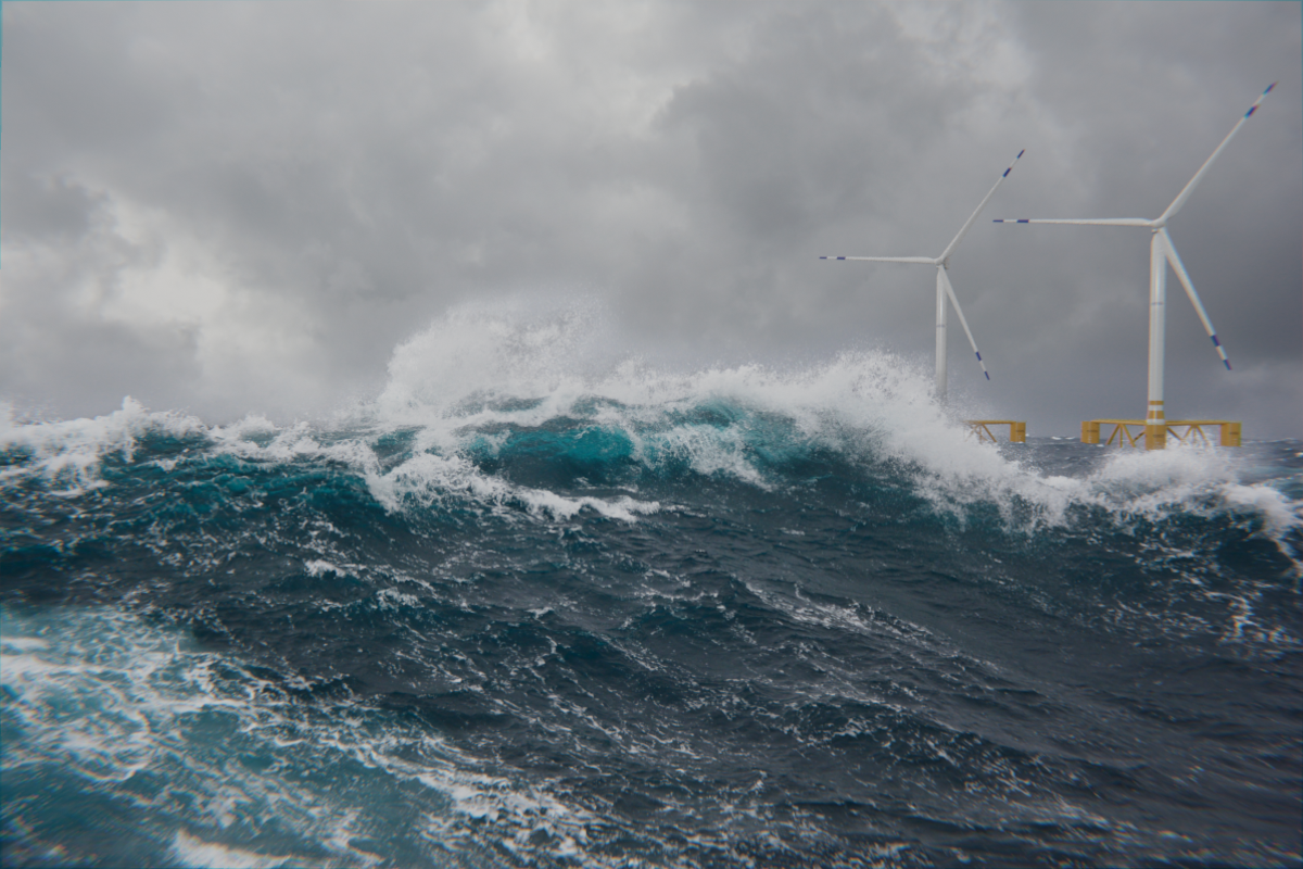 Strong wind, high waves and ocean wind turbines